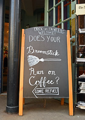 Broomstick Fuel (MTSOfan) Tags: bucks lambertville broom kids trickortreat chalkboard sign coffee witch welcome hospitality