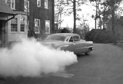 Cadillac burn-out, 1956 (clarkfred33) Tags: cadillac coupedeville 1955cadillac 1956 burnout tire smoke classy classycar vintage vintagephoto vintageautomobile actionphoto blackandwhite rubber