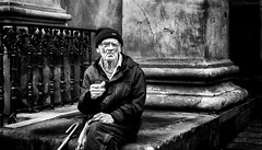 Stone cold stare. (Mister G.C.) Tags: blackandwhite bw image streetshot streetphotography candid people photograph old elderly male man guy smoking smoker cigarette eyecontact monochrome urban town city zonefocus zonefocusing snapfocus ricoh ricohgr pointshoot mistergc schwarzweiss strassenfotografie scotland glasgow britain greatbritain gb british uk unitedkingdom europe