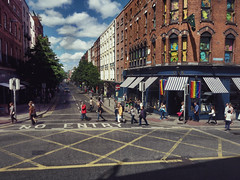 """The sun shone, having no alternative, on the nothing new."" (Rona's whereabouts) Tags: summer city hot sky cloud real theoak damestreet cityhall saturday celebrate pride rainbows shine june season street scene people shadow light shade crossing walk wander shop pub window dublin ireland beckett jamesjoyce ulysses murphy culture equality house pavement pedestrian wait watch writer poet poetry literature art past history"