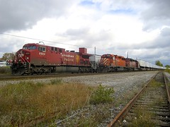 Two westbounds stopped (Michael Berry Railfan) Tags: cprail dorval vaudreuilsub montreal quebec sd402 emd gmd cp5908 cp8503 cp5743 ge generalelectric ac4400cw