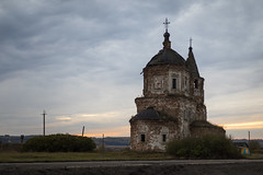 Russian Church (Oleg.A) Tags: ancient autumn penzaregion russia church cloudy brick outdoor ruined evening villiage clouds old destroyed inside abandoned interior building bell dome twilight materials architecture cross antique shadow orthodox orange outdoors lunacharskoye penzenskayaoblast ru