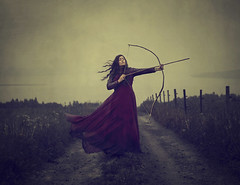 Blind (Maren Klemp) Tags: fineartphotography fineartphotographer color conceptual surreal bow woman portrait selfportrait red dress darkart dreamy outdoors field nature naturallight painterly ethereal windy vintage nostalgic