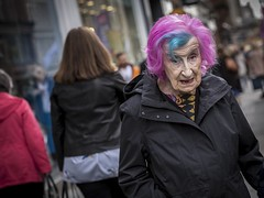 Age Is Just A Number (Leanne Boulton) Tags: portrait people urban street candid portraiture streetphotography candidstreetphotography candidportrait streetportrait eyecontact candideyecontact streetlife old elderly aged woman female face facial expression eyes look emotion feeling mood style stylish fashion pink blue bright hair colourful tone texture detail depthoffield bokeh dutchangle naturallight outdoor light shade shadow city scene human life living humanity society culture canon canon5d 5dmkiii 70mm character ef2470mmf28liiusm color colour glasgow scotland uk