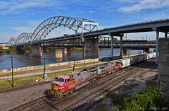 "Westbound Transfer in Kansas City, MO (""Righteous"" Grant G.) Tags: bnsf railway railroad atsf santa fe ge power locomotive west westbound transfer freight kansas city missouri warbonnet"