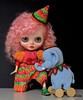Ellie the elephant tamer (Blythe's Tiny Worlds) Tags: blythe custom doll art ooak amigurumi crochet elephant clothes jumpsuit hat outfit