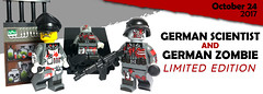 October 2017 - German Zombie & Scientist Minifigures (BrickWarriors - Ryan) Tags: lego brickwarriors minifigure german zombie scientist stahlhelm storm rifle crusher cap syringe stick grenade wwii military custom printed limited edition