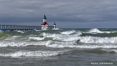 Gales of November (mswan777) Tags: michigan 1855mm nikkor d5100 nikon waves water coast shore beach season autumn weather wind storm outdoor nature cloud sky stjoseph lakemichigan lighthouse pier seascape
