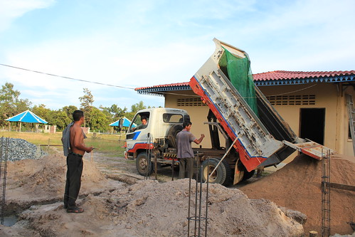 Truckloads of dirt to lay foundation