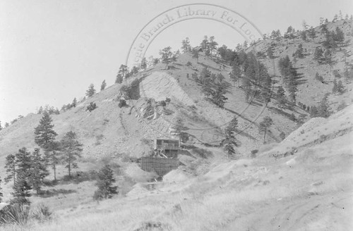 Photo - Mt. Sanitas, Red Rock, and an unknown structure (1909-1925).