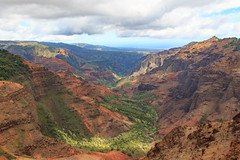 Waimea Canyon (Mike Sirotin) Tags: blue trees kauai valley waimeacanyon pacificocean rocks forest cliffs yellow shadows waimeacanyonstatepark kauaʻi hawaii orange waimeariver waimeacanyonlookout