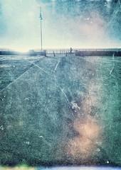 the first to see the sunrise (Pea Jay How) Tags: light post walker walking walk path suffolk northsea coastal seaside lowestoft texture riser early sunrise morning silhouette railings rail fence promenade coast sea