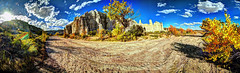 Plaza Blanca from arroyo (JoelDeluxe) Tags: chama river valley abiquiu october 2017 fall colors plaza blanca daralislam hdr panorama landscape nm newmexico joeldeluxe