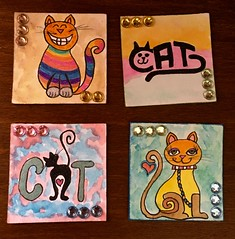 'Crazy Cat' twinchies made for a swap (CraftyBev) Tags: glitterpens drawing inking twinchies