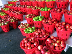 Apples. (dccradio) Tags: smithsburg md maryland apple apples mountainvalleyorchard cavetown basket baskets tier tiered redapples greenapples redbaskets fruit fruitstand indoors inside orchard appleorchard canon powershot a3400is pavement project365 photooftheday photo365