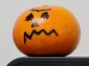 It's a great Charlie Brown pumpkin! (Coyoty) Tags: halloween orange decoration charliebrown pumpkin desk fruit food white black round sphere shiny holiday pun wordplay fun funny humor macro bokeh