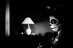 the walking dead (tonyhoertrauschen) Tags: fujix100t fuji fotografie fujifilm face children child happy halloween make up gameoftones makeup scary ghost lamp bw black blackandwhite white indoor eyes mood vsco portrait light lights shadow fashion sweet smile