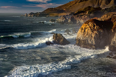 View From the Road (Selkii's Photos) Tags: california coast highway1 ocean pacificocean roads seascape water waves highway goldenhour sunset