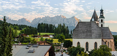 Kitzbuhel (pedalpusher139) Tags: austria kitzbuhel alps sunrise church town mountains