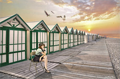 Waiting (Jean-Michel Priaux) Tags: girl tréport somme beach plage paysage cabane landscape cabin cabine holiday wait waiting photoshop ligne way light painting story sunset hdr patrimony poetry lovely baiedesomme girly line hut shack alignement graphic graphique nikon d90 tarbes moutiers picardie