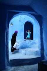 Happy Blue (daniel.virella) Tags: blue stairs people woman child stairway alley town chefchaouen chaouen شفشاون maroc marruecos morocco المَغرِب picmonkey