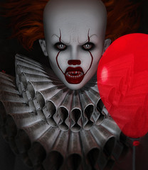 Pennywise (♛ Baronne ♛) Tags: secondlife avatar mode model halloween amorerufflecostumerpphotographphotographerpicpictureportraitit movieitthemoviepennywisethe dancing clowncircusmoon amore sl 3d scary horror horreur nightmare cauchemar collar mad balloon red rouge blood sang teeth beast mouth hungry angry ink hair sinister killer kill murderer meurtrier peur french