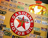 Wall Decor, The Filling Station Cafe (frank thompson photos) Tags: arkansas bentonvillear decorations restaurantcafebarcoffeehouse signsignage texaco cartag jayhawk license usa americana