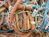 Knotted Fishing Ropes (jkw_fire_horse) Tags: rope nets fishing litter trash rubbish tangle knots knotted orange blue string