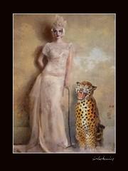 Portrait of a Wall Flower (jimlaskowicz) Tags: victorian model leopard statue animal jimlaskowicz art whimsical surreal painterly aged textures impressionistic artistic vintage portrait