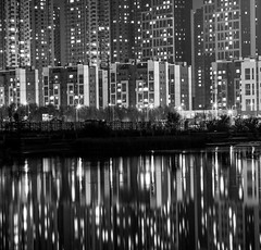 Night_Shenyang_Acros_100_20171026_0001 (miguelbuschhauer) Tags: night long exposure reflections skyscrapers china liaoning shenyang black white noir noiretblanc blanc bw schwarzweiss schwarz weiss canal light