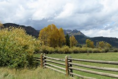 Fenced In (Patricia Henschen) Tags: pagosasprings colorado mountains mountain san juan valley ranch clouds us160 wolfcreekpass rural fallcolors aspen autumn leafpeeping backroad backroads