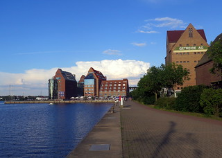 Stores and boardwalk of Rostock harbour