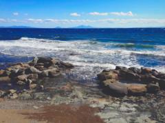 Seseki Onsen (moaan) Tags: rausucho hokkaido japan jp spa onsen outdoorspa beach rockybeach sea seascape occean sky horizen wave wavelets utata 2017 iphone iphone5 iphonegraphy