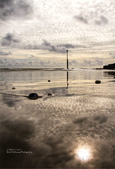 Reflections (rhfo2o - rick hathaway photography) Tags: rhfo2o canon canoneos7d elmer elmersands middleton bognorregis westsussex beach sand sea seaside channelmarker seadefences ripples horizon clouds waves reflections sun