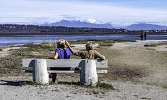 What a day (Tony Tomlin) Tags: crescentbeachbc britishcolumbia canada mountains beach bench sand