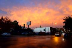 body shop en fuego v.2 (KevinIrvineChi) Tags: aperturepriority tiltshift cars cara reflective blue chicagoist curbedchicago consumerist enfuego fiery fire orange bodyshop albanypark richard carrepair cloud clouds cloudya sunset illinois chicago dscrx100 sony