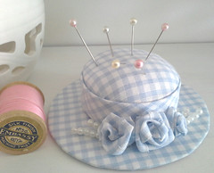 Handmade gingham hat pincushion with rolled fabric roses. (my_studio) Tags: gingham hat pincushion handmade rolled roses blue pin cushion fabric