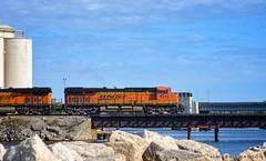 BNSF 6276 across the St. Joseph River (mswan777) Tags: railroad rail autumn outdoor 70300mm sigma d5100 nikon river bridge bnsf chicago michigan travel stjoseph engine train