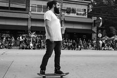 Manbun mocha latte chai hipster beard skateboard. (TheodoreWLee) Tags: 27mm xt2 manbun atlanta littlefivepoints halloween pancake hipster parade skateboard fujifilm beard
