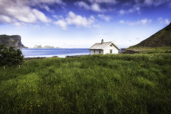 House on the Green (K Michael F C) Tags: lofoten norway green field water bay ocean cottage home village fishing blue travel hike hiking camp camping beautiful scenic nikon d810