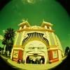 Luna Park fisheye 2 (sonofwalrus) Tags: holga film lomo lomography scan melbourne australia victoria xpro xprocessing xprocessed crossprocessing crossprocessed fisheye lunapark face funpark mouth entrance amusementpark gate stkilda