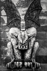 You Looking at Me 3-0 F LR 9-16-17 J221 (sunspotimages) Tags: gargoyle blackandwhite bw monochrome halloween scary
