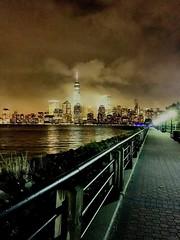 Foggy mist, featuring NYC skyline 🌃 (azadzubair) Tags: fidi financial district freedom tower greatest city world dreams still water feature scenery foggy mist night park state liberty hudson views skyline nyc newyork