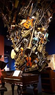 Massive musical instruments sculpture, Schubert Club Museum