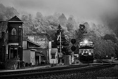 Black and White Town (Brandon Townley) Tags: trains railroad morning fog ns norfolksouthern bw blackandwhite clouds sky trees westvirginia old