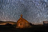 Bodie Church Star Trails Saturday October 14 (Jeffrey Sullivan) Tags: star trails bodie state historic park mono county eastern sierra bridgeport california usa night travel photography milky way light painting astrophotography canon eos 6d photo copyright 2017 jeffsullivan allrightsreserved october abandoned rurral decay wild west mining town preservation starstax