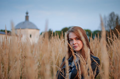 Tatiana Lapik (ivan_volchek) Tags: outdoors nature field grass wheat sky rural countryside landscape portrait hayfield people autumn evening toning temple tower