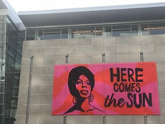 Nina Simone crochet mural at the Raleigh Convention Center (crochetbug13) Tags: crochet crochetbug olek loveacrosstheusa raleighconventioncenter raleigh northcarolina ninasimone yarnbomb yarnbombing crocheted crocheting redheartyarn redheartsupersaver pink orange