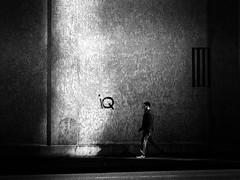iQ (Sandy...J) Tags: olympus photography walking wall man monochrom urban noir street streetphotography blackwhite bw light shadow darkness germany city