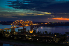 Mississippi bridge at sunset (famasonjr) Tags: bridge water river mississippi arkansas landscape tennessee building architecture lights light blue hour canon eos 7d canonef28135mmf3556isusm